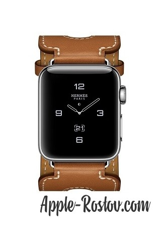 Apple Watch Hermes 38 mm silver/Cuff in leather Barenia Fauve color with double buckle