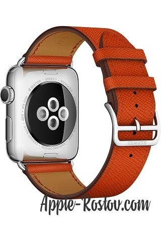 Apple Watch Hermes 42 mm silver/Simple Tour leather Epsom color Feu